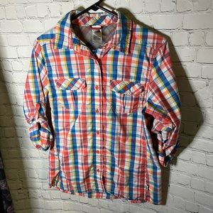 The North Face Plaid Button Down Shirt Size M